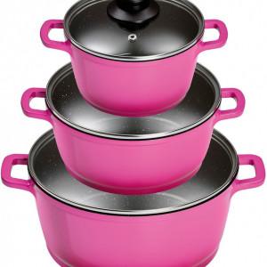 Set de vase de gatit, aluminiu, roz