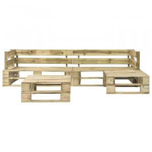 Set lounge, 1 canapea si 1 masa, lemn masiv, bej