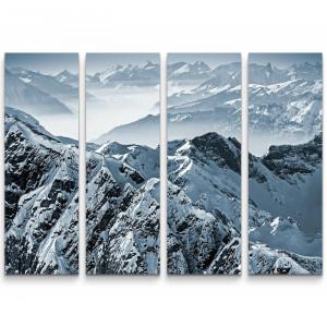 """Tablou """"Alpii Elvetieni"""", alb/negru, 90 x 130 cm"""