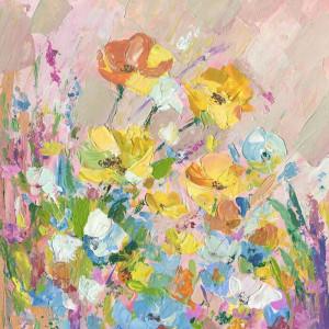 "Tablou ""Narcise galbene"", panza, 45 x 45 x 3,81 cm"