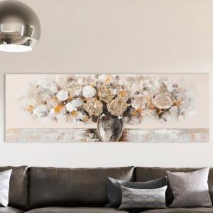 "Tablou ""Vaza cu flori"", bej, 50 x 150 cm"