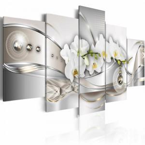 Tablou piese multiple 'Pearl Dance of Orchids', 50cm H x 100cm W x 1.4cm D