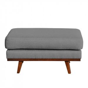 Taburet Billund material textil/lemn masiv, gri, 43 x 89 x 60 cm
