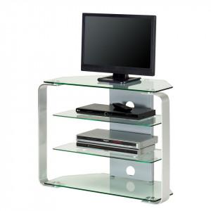 TV Rack CU-MR 110 sticla/aluminiu, argintiu, 110 x 40 x 40 cm