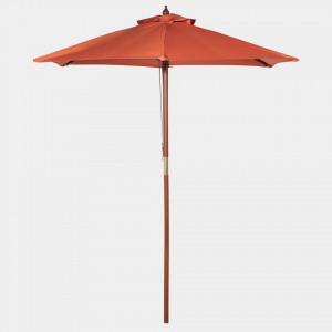 Umbrela de soare 2M, portocalie, tesatura/lemn/metal