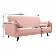 canapea extensibila 206x107x100 cm roz pudra