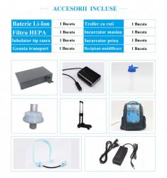 Concentrator de oxigen PORTABIL cu acumulator, autonomie 2 ore, 5 L/min, Certificat CE