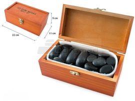 QMED 956-PHS20W - Pietre calde din Bazalt pentru terapii in cutie de lemn