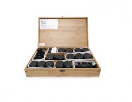 Poze QMED 064-H76TC - Pietre calde din bazalt pentru terapii, in cutie lemn, modelate manual, model cu 76pietre