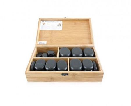 Poze QMED 064-H36TC2 - Pietre calde din bazalt pentru terapii, in cutie lemn, modelate manual, model cu 36pietre