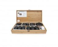 QMED 064-H64TC2 - Pietre calde din bazalt pentru terapii, in cutie lemn, modelate manual, model cu 64pietre