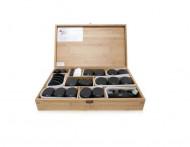 QMED 064-H76TC - Pietre calde din bazalt pentru terapii, in cutie lemn, modelate manual, model cu 76pietre
