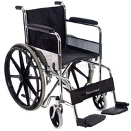 QMED 183-809B-46 - Scaun pliabil cu rotile din otel cromat si rotile din spate solide