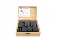 QMED 064-H18TC- Pietre calde din bazalt pentru terapii, in cutie lemn, modelate manual, model cu 18pietre