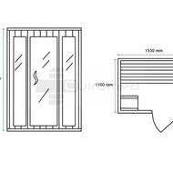 QMED 535-E3 - Sauna cu aburi de interior din 3 corpuri, cu geamuri