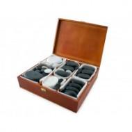QMED 956-PHS68W- Pietre calde din bazalt pentru terapii in cutie din lemn modelate manual