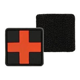 BLACK PVC 3D FIRST AID PATCH W.HOOK&LOOP CLOS.LG