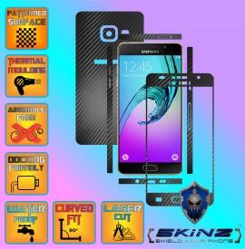 Samsung Galaxy A5 2016 & Duos - Folie Carbon Texturat - Carbon SKINZ , husa tip skin ( Folie Carcasa + Folie Rama Ecran )