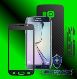 Samsung Galaxy S6 Edge - Folie Carbon Texturat - Carbon SKINZ , husa tip skin ( Folie Carcasa + Folie Rama Ecran )