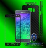 Samsung Galaxy Alpha - Folie Carbon Texturat - Carbon SKINZ , husa tip skin ( Folie Carcasa + Folie Rama Ecran )