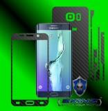 Samsung Galaxy S6 Edge+ Plus - Folie Carbon Texturat - Carbon SKINZ , husa tip skin ( Folie Carcasa + Folie Rama Ecran )
