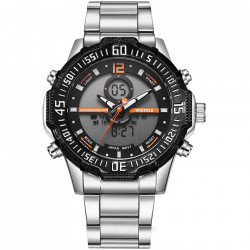 Ceas WEIDE, Quartz, Casual Sport, Orange, Curea Metalica, WH6105-6C