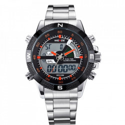 Ceas WEIDE, Quartz, Casual Sport, Orange, Curea Metalica, WH1104-3C