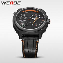Ceas WEIDE, Quartz, Casual Sport, Orange, Curea Piele, UV1507B-5C