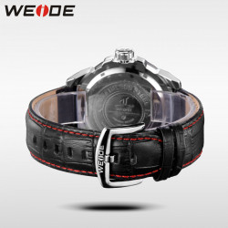 Ceas WEIDE, Quartz, Casual Sport, Rosu, Curea Piele, UV1605-3C