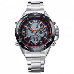 Ceas WEIDE, Quartz, Casual Sport, Orange, Curea Metalica, WH1103-3C