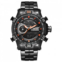 Ceas WEIDE, Quartz, Casual Sport, Orange, Curea Metalica, WH6902B-5C