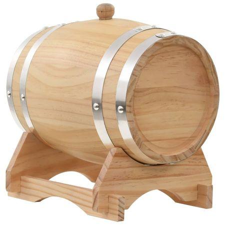 Butoi de vin cu robinet, 6 L, lemn masiv de pin