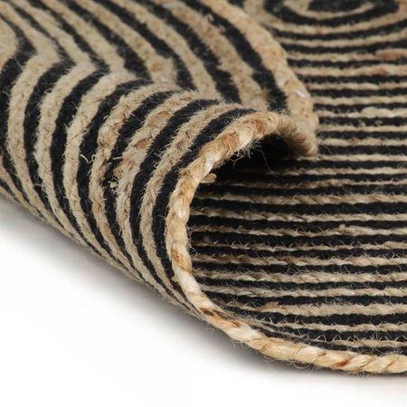 Covor manual cu imprimeu spirală, negru, 120 cm, iută
