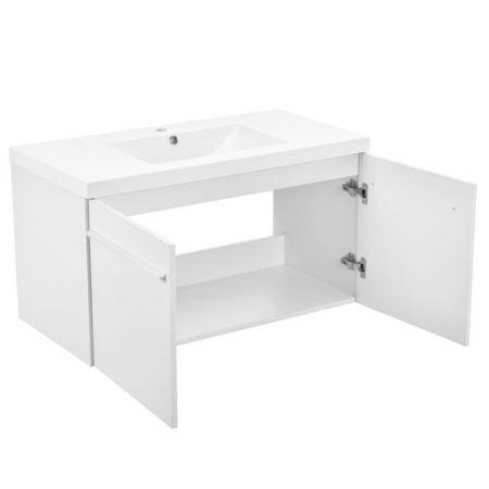 Dulap baie cu 2 usi si lavoar incorporat, 500 x 900 x 460 mm, alb