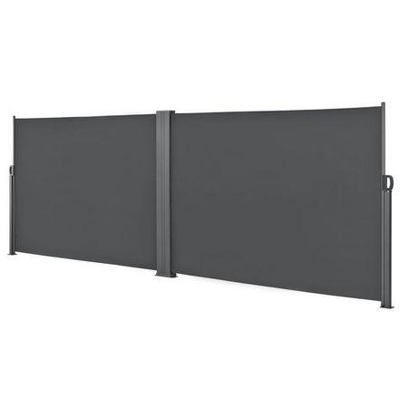 [pro.tec]® Paravan solar dublu,protectie vizuala, , 180 x 300 x 300 cm, otel/poliester, gri