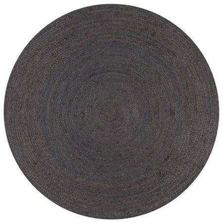 vidaXL Covor manual, gri închis, 120 cm, iută, rotund