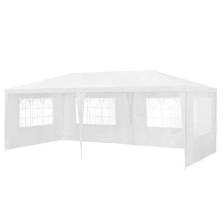 [casa.pro]® Pavilion gradina AAGP-9603, 600 x 300 x 255 cm, metal/polietilena, alb