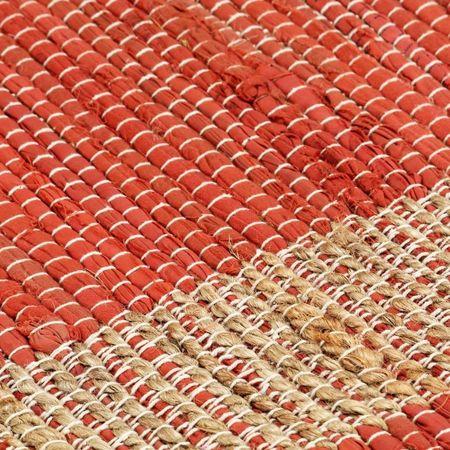 Covor manual, roșu, 80 x 160 cm, iută