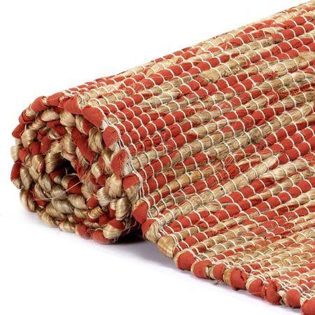 Covor manual, roșu și natural, 80 x 160 cm, iută