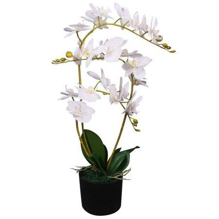Orhidee artificială cu ghiveci, 65 cm, alb