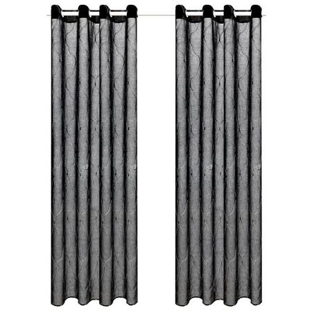 Perdele transparente cu broderie, 2 buc., 140 x 245 cm, negru