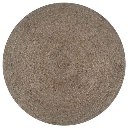 vidaXL Covor manual, gri, 90 cm, iută, rotund