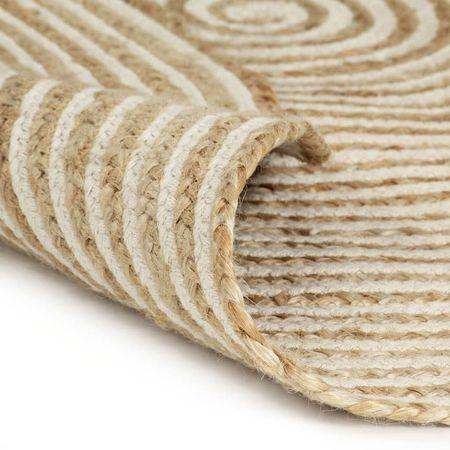 Covor manual cu imprimeu spirală, alb, 150 cm, iută