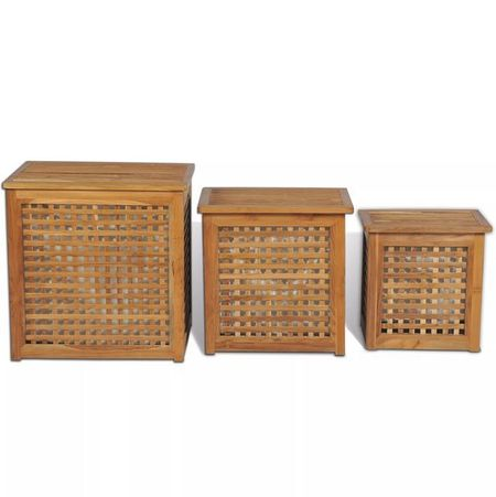 Set de coșuri pentru rufe, 3 piese, lemn de tec