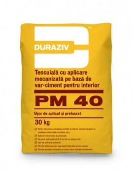 Tencuială cu aplicare mecanizată, pe bază de var-ciment, pentru interior Duraziv PM40 - 30 kg