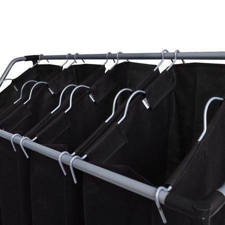 vidaXL Coșuri sortare lenjerie cu saci, 2 buc., negru și gri