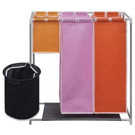 Coș de sortare a rufelor cu 3 compartimente și recipient de spălare