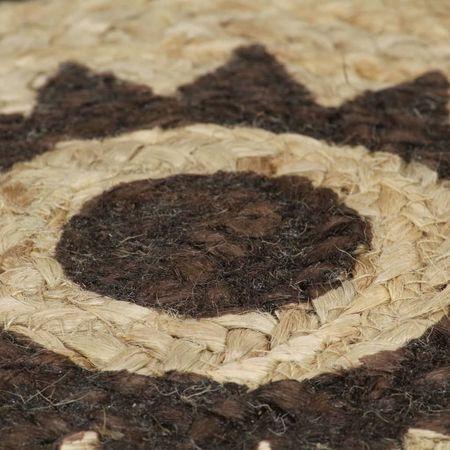 Covor manual cu imprimeu maro închis, 90 cm, iută