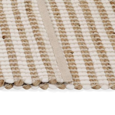 vidaXL Covor din iută lucrat manual, natural și alb, 160 x 230 cm