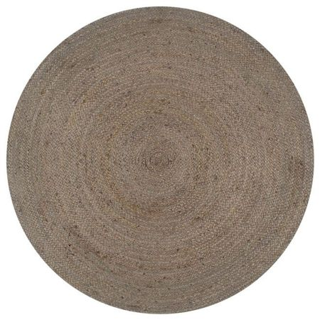 vidaXL Covor manual, gri, 120 cm, iută, rotund
